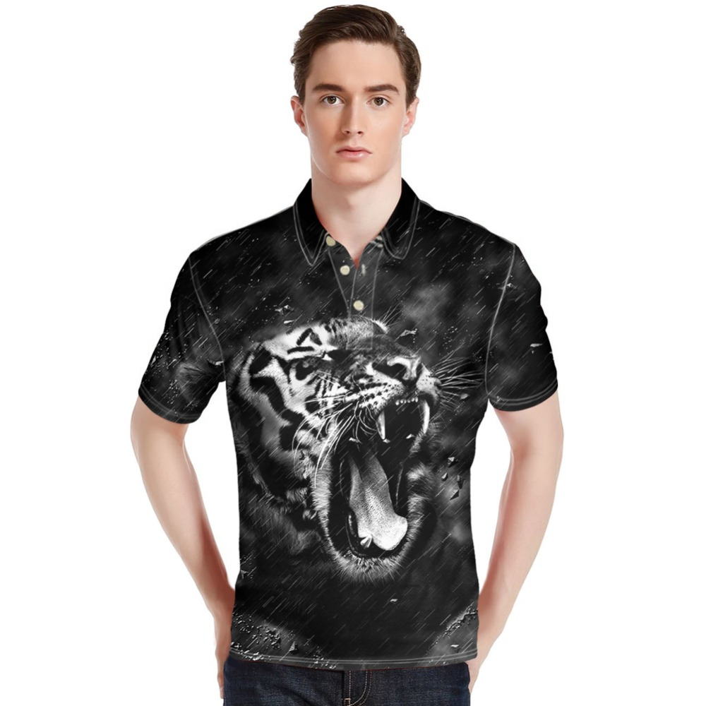 Forudesigns Wholesale Animal Print Tops Tees Men Polo Shirts Casual