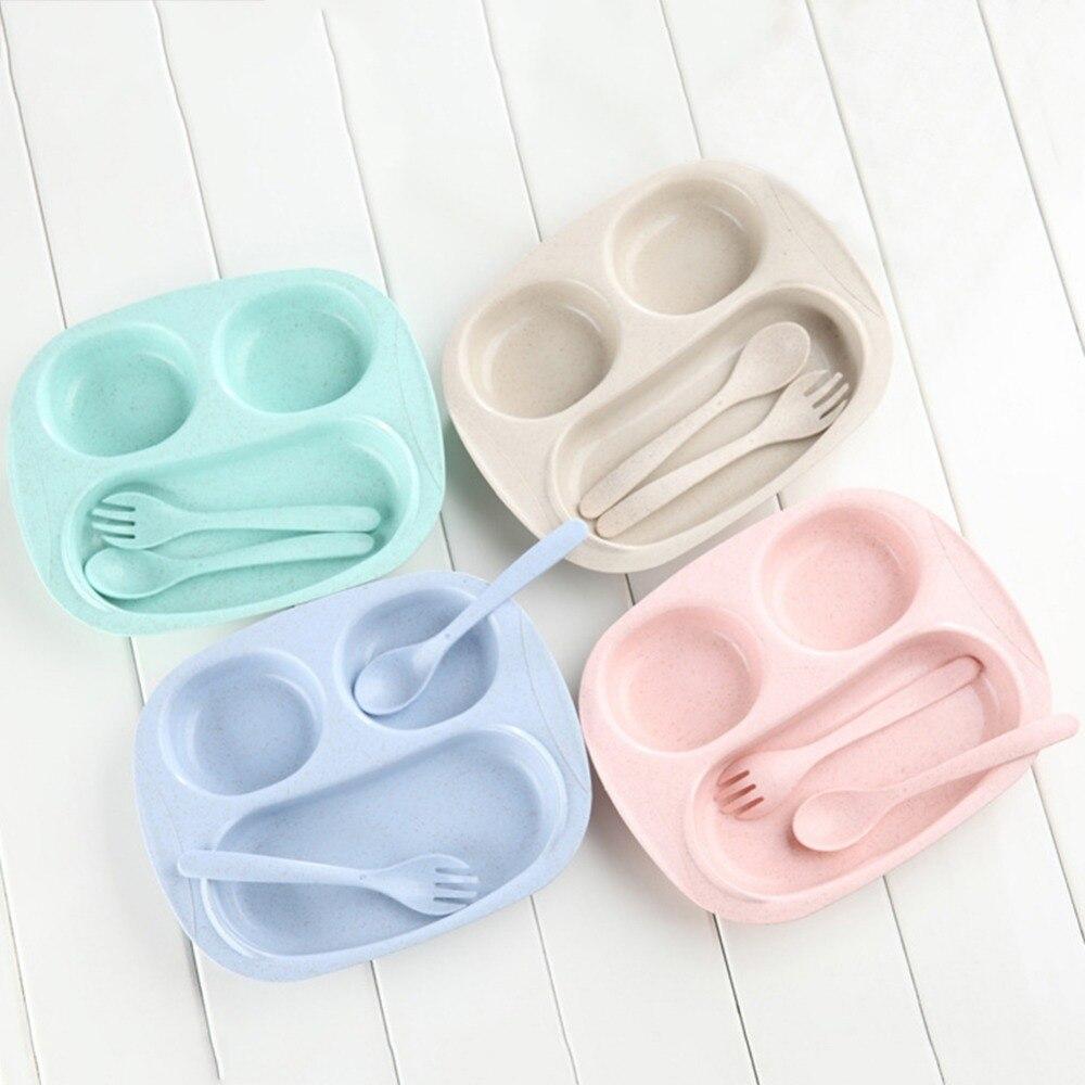 Sécurité Bébé Bols Plaque Vaisselle ensemble Enfants Récipient de Nourriture Plats pour L'alimentation du Nourrisson Enfant Paille De Blé Enfants Plaque D'alimentation