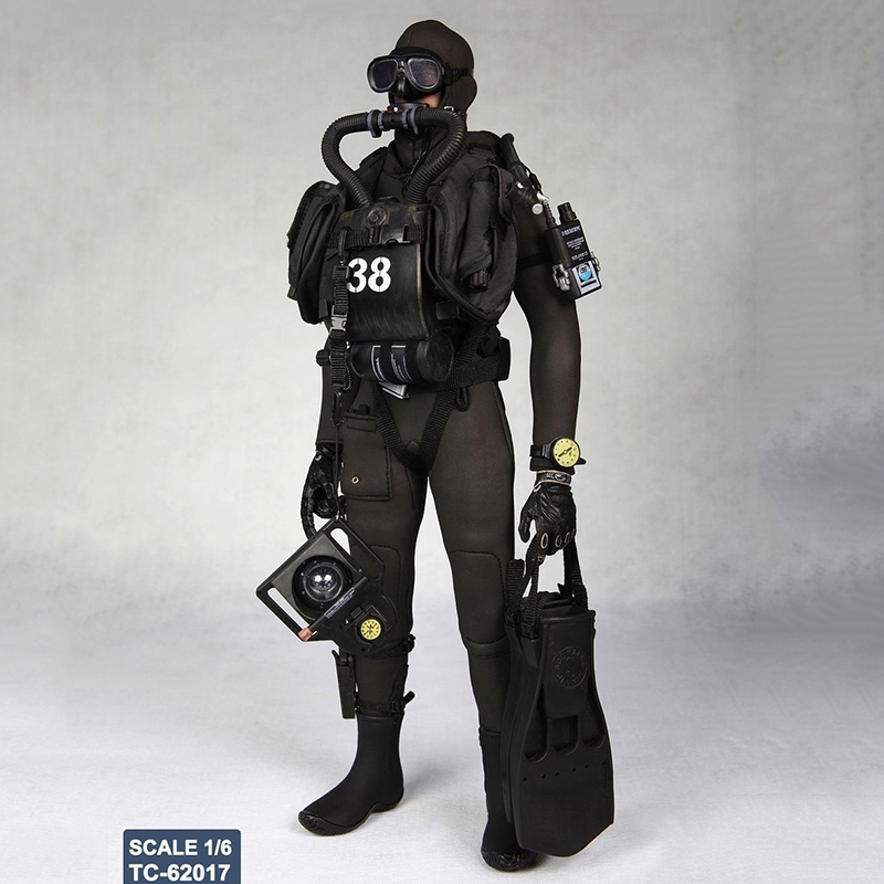 1/6 Diver Combat Frogman Set Seal Water Ghost Clothes Models Soldier Costume Sets for 12 Inches Figures Bodies 1 6 ghost rider black leather jacket pants set models for 12 inches male action figures bodies accessories
