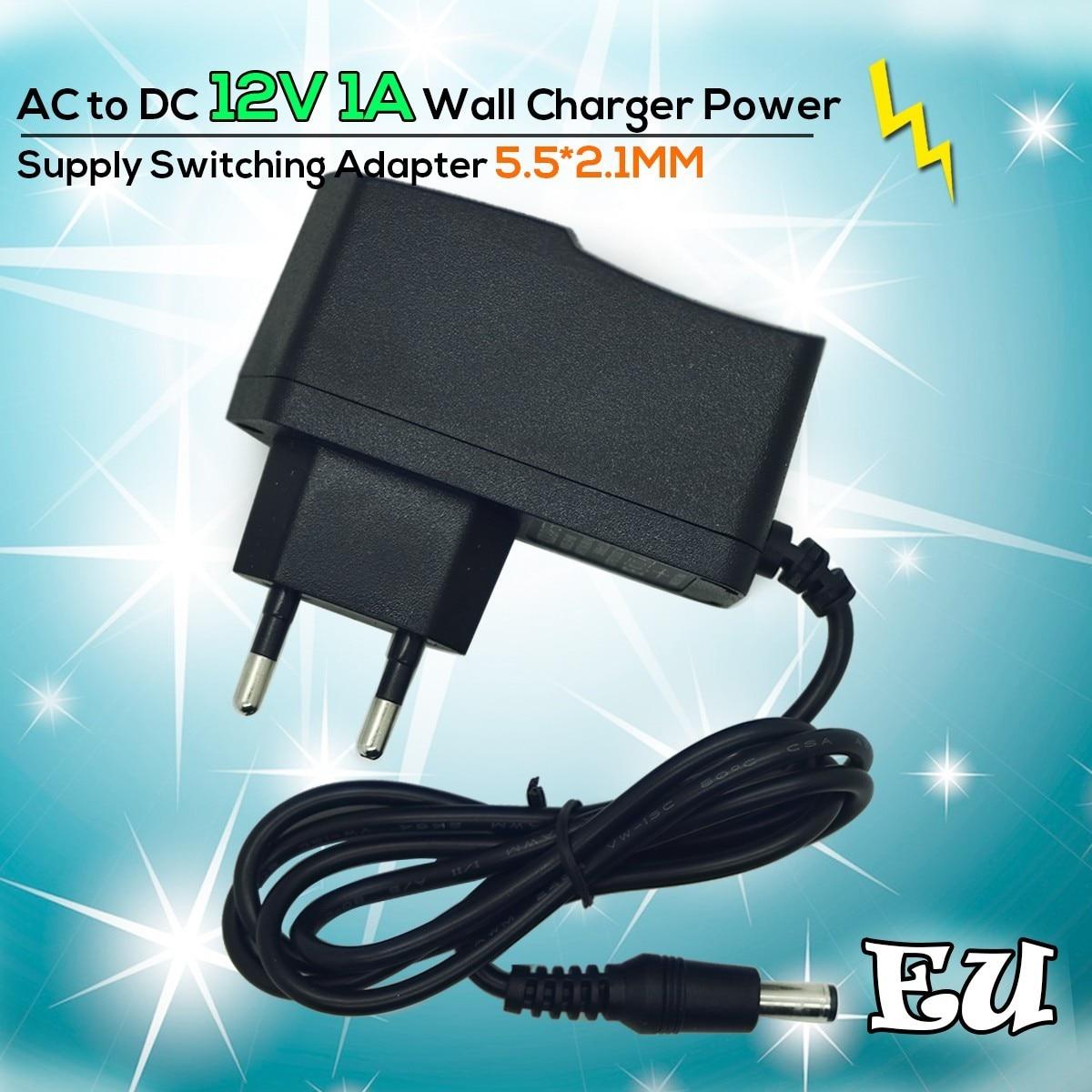 AC DC Зарядное Устройство Адаптер Конвертер Переключения ЕС Plug Power Supply 12 В 1A 100 В-240 В 5.5 мм * 2.1 мм Для камер Видеонаблюдения