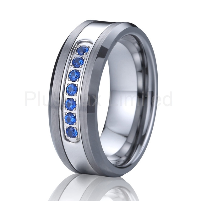 blue cz diamond jewelry wedding band love tungsten carbide ring for men women beautiful USA style masterpieces