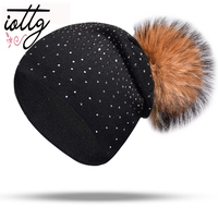 IOTTG New Winter Hats Women Wool With Real Mink Pompom Beanies Female Double Deck Rhinestone Knitted Hat Warm Winter Bonnet
