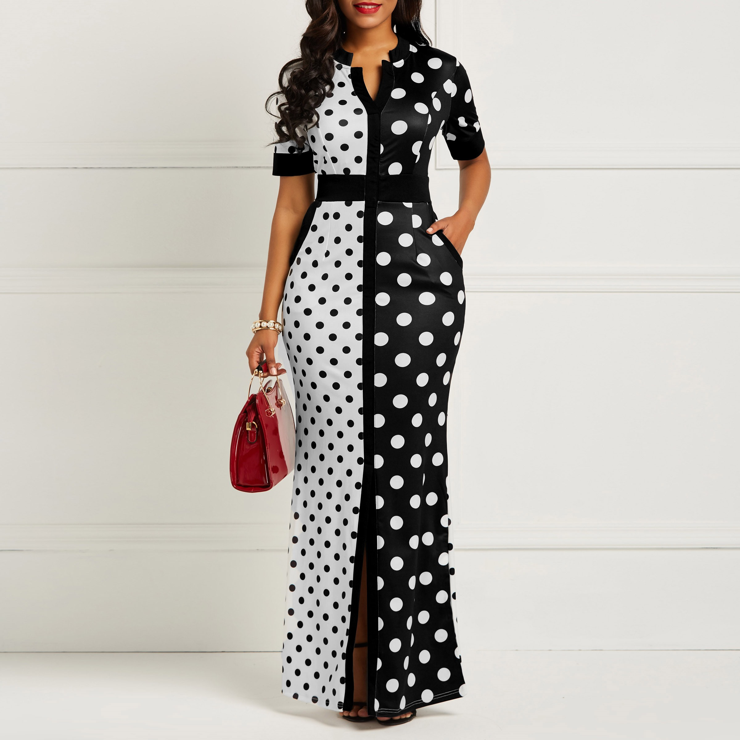 Clocolor African Dress Vintage Polka Dot White Black Printed Retro Bodycon Women Summer Short Sleeve Plus Size Long Maxi Dress