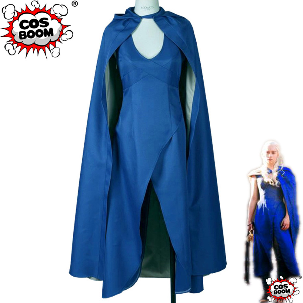 COSBOOM Game Of Thrones Costume Daenerys Targaryen Blue Costume Halloween Carnival Daenerys Targaryen Blue Dress Cosplay Costume