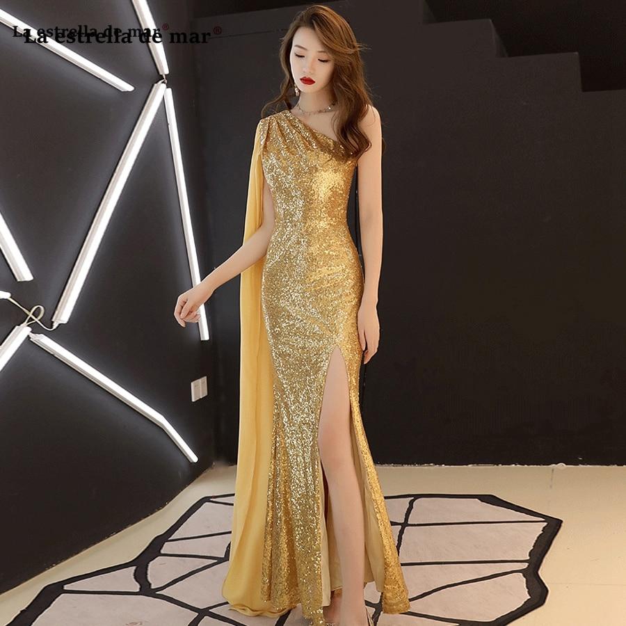 Robe demoiselle d'honneur new chiffon sequins one shoulder long sleeves high slit sexy mermaid gold silver black bridesmaid