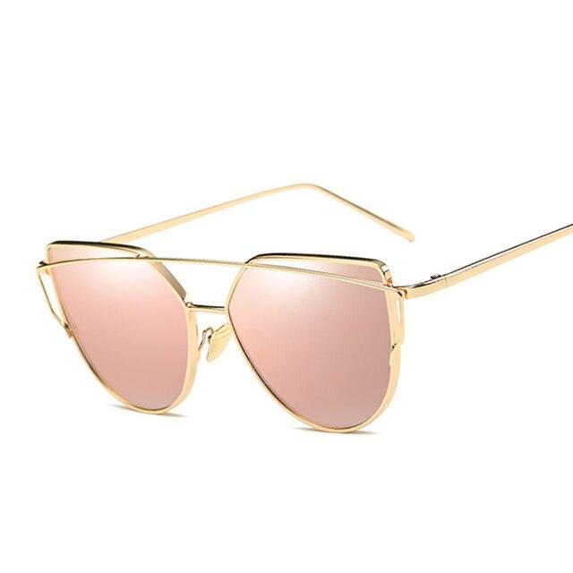 586e940ae8 Coodaysuft nuevo gato ojo mujeres Gafas de sol diseño de marca espejo plano  oro rosa vintage