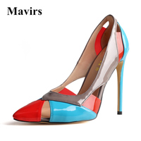 Mavirs Brand Women Pumps 2018 Pointed Toe Sexy High Heels Stiletto Sandal Multi Color Extreme High Heel Party Shoes