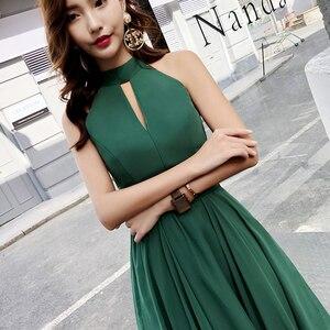 Image 4 - Vestidos verdes de chifón alto bajo noche y playa, Halter Sexy, sin mangas, Parte delantera corta, espalda larga, graduación, talla grande, 2019