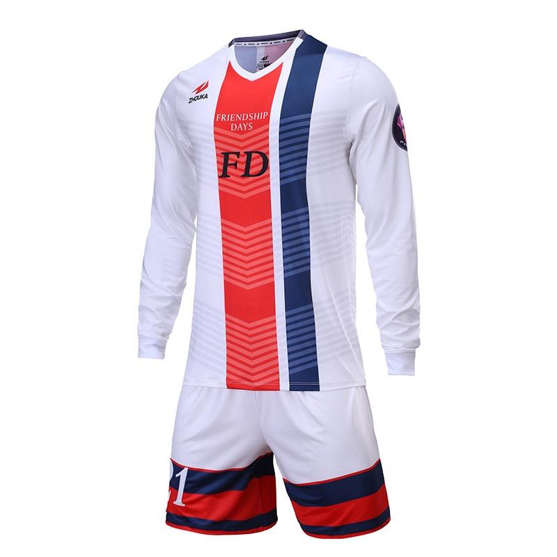 Customized Soccer Jerseys Set Tracksuit Men Long Sleeve Design Name Goalkeeper Uniform Survetement Football Sports Suit