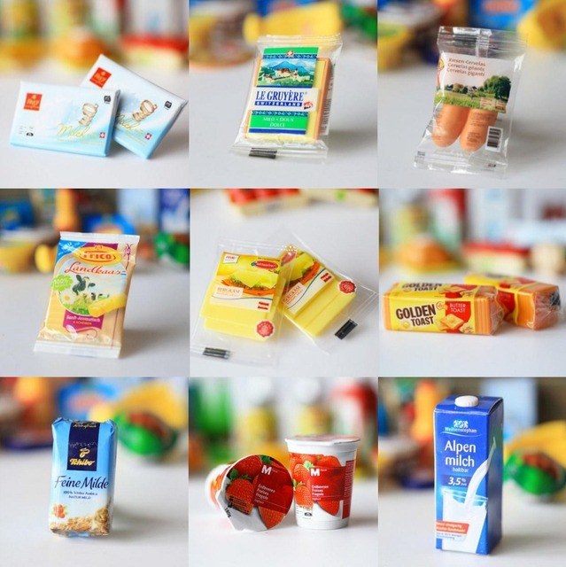 Mini Real Food Kitchen: 6PCS 1:6 Dollhouse Miniature Doll Food Mini Supermarket