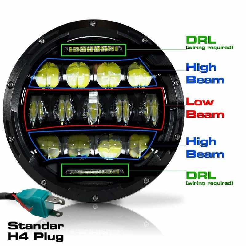 75W 7 LED Headlights For Jeep Wrangler DC 10V 24V LED Motorcycle Headlight Bulbs CE Certified H4 LED Headlight Fog Spot Lights