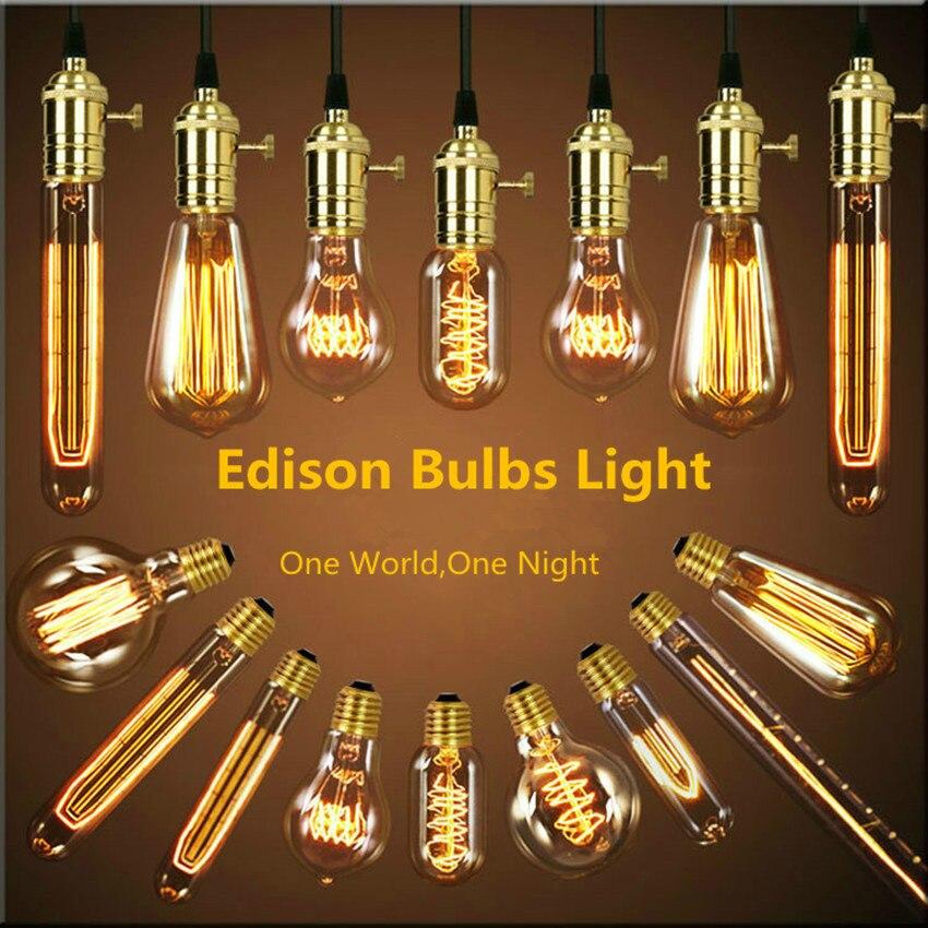 Incandescent Bulbs ST64 G80 Vintage Edison bulb E27 incandescent bulb 110V 220V holiday lights 40W filament lamp for home decor