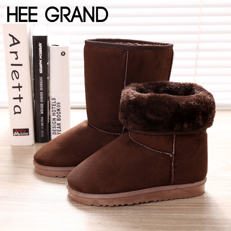 HEE GRAND 2018 Women Warm Ankle Boots Faux Fur Winter Fashion Boots Flat With Light Bootie Warm  Footwear Shoes Booten XWX7088