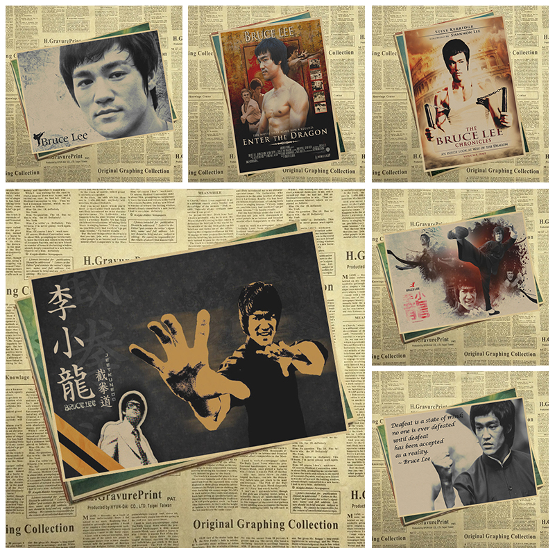 Bruce Lee Classic Movie Kraft Paper Poster Bar Cafe Living Room Dining room Wall Decorative Paintings