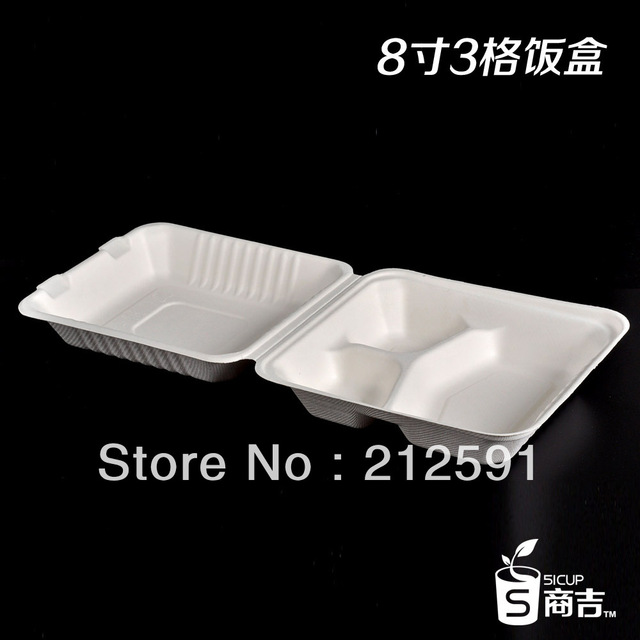 Eco friendly 8inch three compartment disposable paper lunch box oven microwave safe pack take away food  sc 1 st  AliExpress.com & Eco friendly 8inch three compartment disposable paper lunch box oven ...