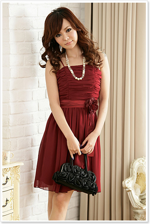 Fyclothes Fashion Store free shipping BF8211 spaghetti strap chiffon girl formal dress rushed vestidos pleated flower wrinkled cocktail party dresses