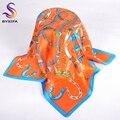 Autumn Brand Chain Silk Scarf Printed 2016 New Design Fashion Accessories Ladies Bag Accessories Neck Scarves Orange 55*55cm