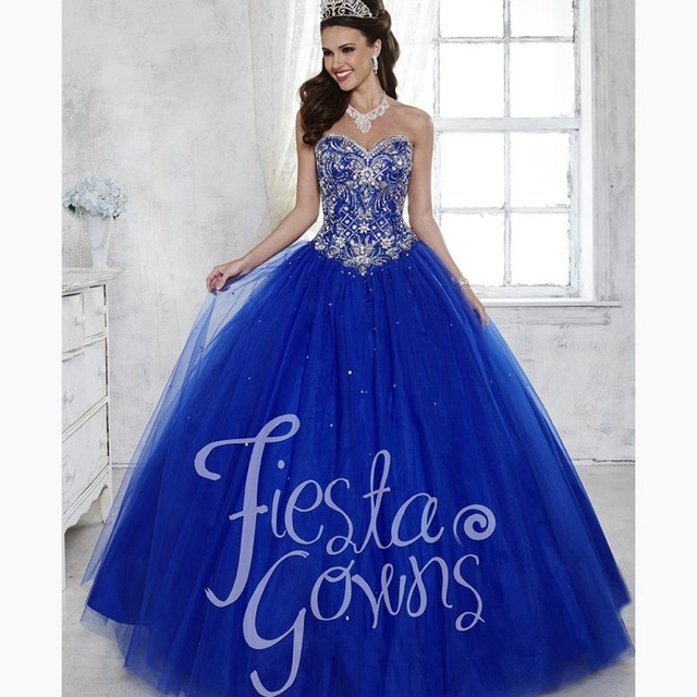 16bff2bad96 Gorgeous Royal Blue Quinceanera Dresses Crystal Beaded Bodice Cheap  Debutante Dress for Party Sweet 16 Gown Vestido de 15 anos