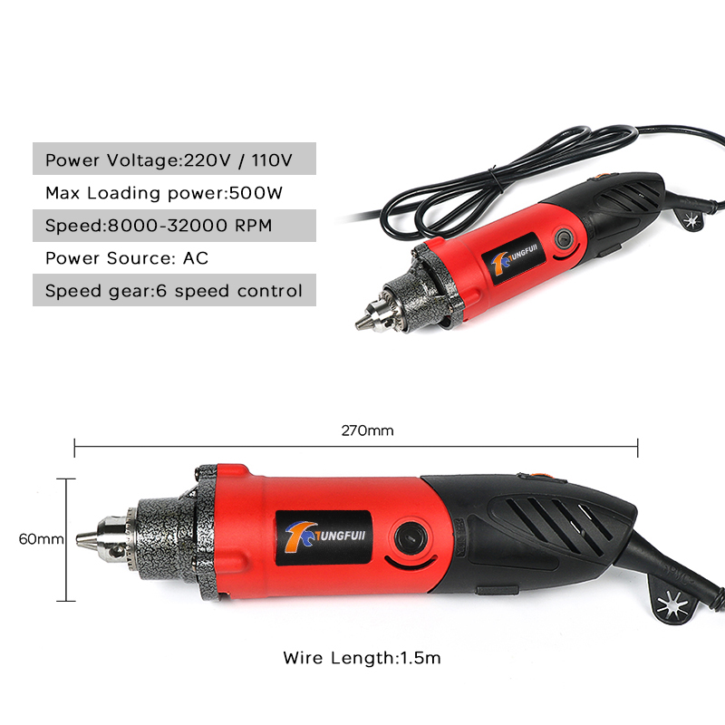 Tungfull 500W Mini Electric Drill With 6 Position Variable Speed Dremel Style Rotary Tools Mini Grinding Power Tools