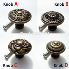 2pcs Antique brass Vintage Round Flower Furniture Cabinet Cupboard Dresser Chest Closet Drawer Door Window Handle Pull Knob
