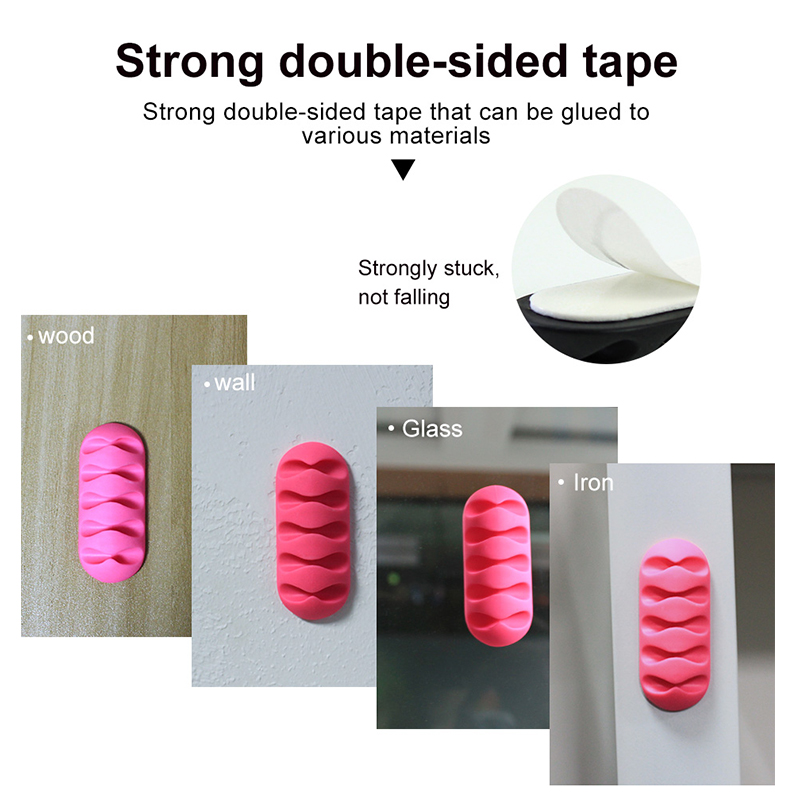 !ACCEZZ 3pcs USB Cable Organizer Silicone Wire Winder Earphone Holder Mouse Cord Phone Line Desktop Bedroom Management Accessory 5