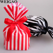 WEIGAO 10Pcs Striped Pattern Birthday Gift Box Cookie Candy Bags Baby Shower Christmas Event Party Favors Pack Bag Party Bags
