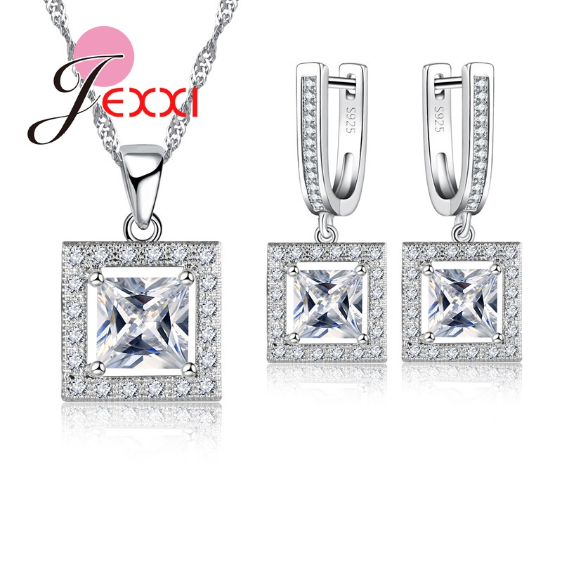 JEXXI Trendy Geometric Square Shape Brand Cubic Zirconia Rhinestone Sterling Silver Jewellery Sets For Woman Party Accessories