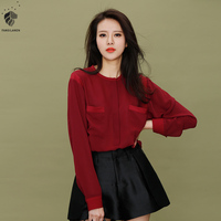 Van Faith Lane Spring 2016 New Bat Sleeve Chiffon Shirt Female Temperament Thin Long Sleeved Shirt