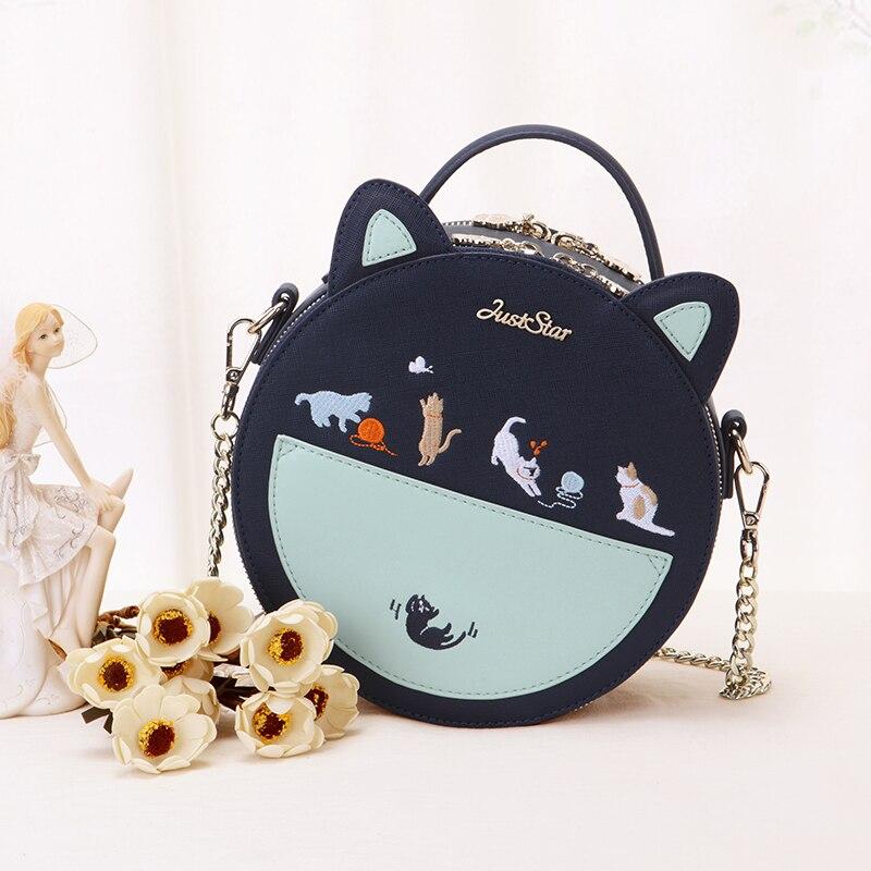 Bags Women Lovely Fashion New Bag Cat Ears Funny Handbags Circular Handbag Cartoon Animal Prints Embroidery Patchwork Color  цена и фото