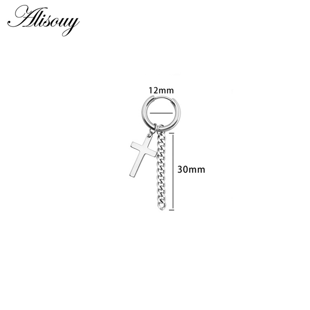 Alisouy 1pc Stainless steel Cross Star Skull Boys Accesorios Tassel Chain Korean Earrings Men Women Tassels.jpg 640x640 - Alisouy 1pc Stainless steel Cross Star Skull Boys Accesorios Tassel Chain Korean Earrings Men Women Tassels Dangle Earrings