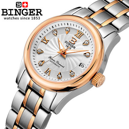 Здесь можно купить   Binger Fashion gold relogio feminino Geneva Watch Full Steel Women Rhinestone watches Ladies Analog Automatic wristwatches Часы