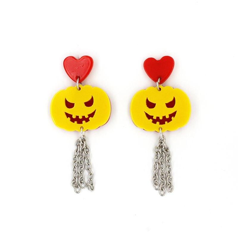 Acrylic Heart Tassel Pumpkin Stud Earrings Long Women Halloween Jewelry