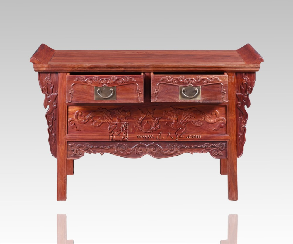 Palissandre salon bas armoires casiers classiques chinois Table TV en bois massif 2 tiroirs casiers Redwood comptoir Dragon sculpture
