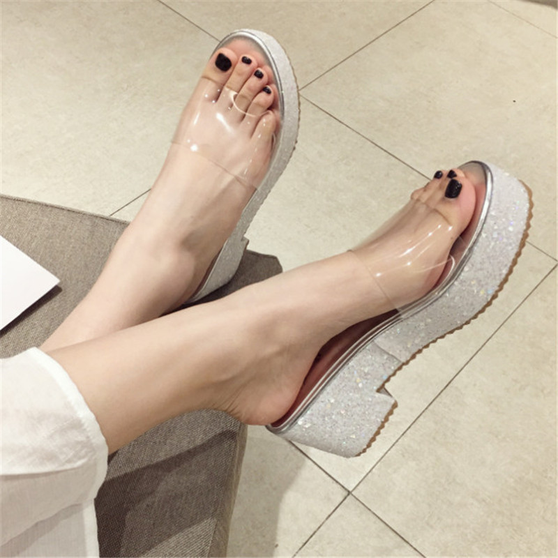 Fashion Bling Platform Sandals Women High Heels Slip On Transparent Shoes Women Summer Sandals Comfortable Ladies Shoes