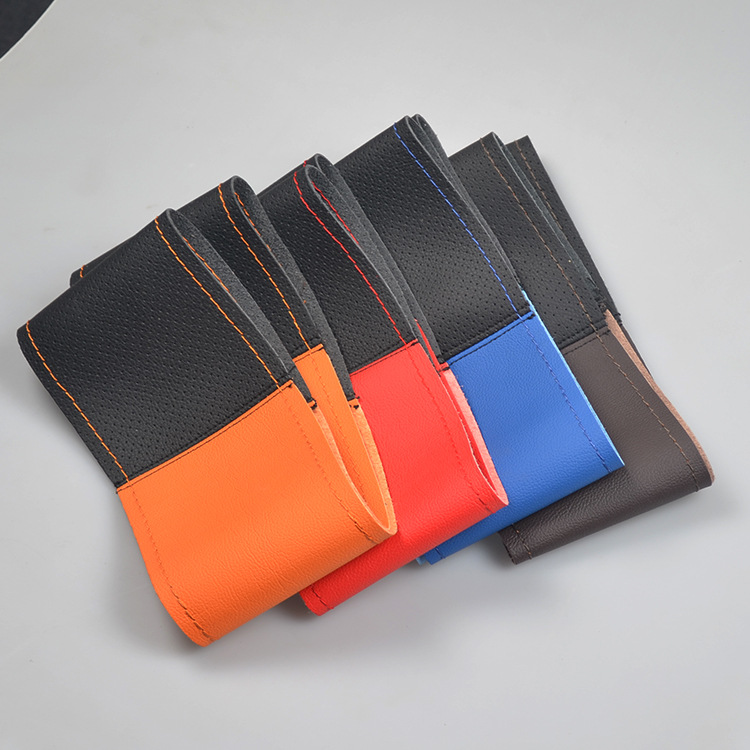 Colorful Braided microfiber leather cover on the steering wheel of the car braid case steering-wheelcover 38 cm covers