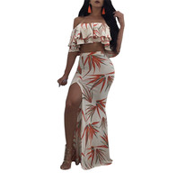 Crop Tops And Long Skirt Women 2 Piece Set Summer Floral Print 2 Piece Dress Sexy