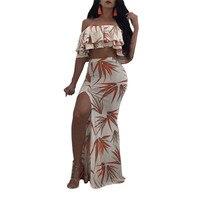 Crop Tops And Long Skirt Women 2 Piece Set Summer Floral Print 2 Piece Dress Sexy