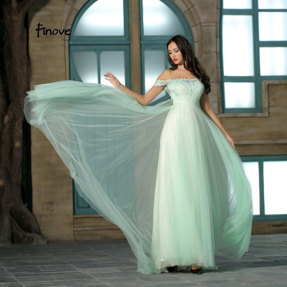 e121ddb52ff5 Finove Light Green Tulle Illusion Prom Dress 2018 New Arrivals Sexy Off The  Shoulder Embroidery Floor-Length Long Dress