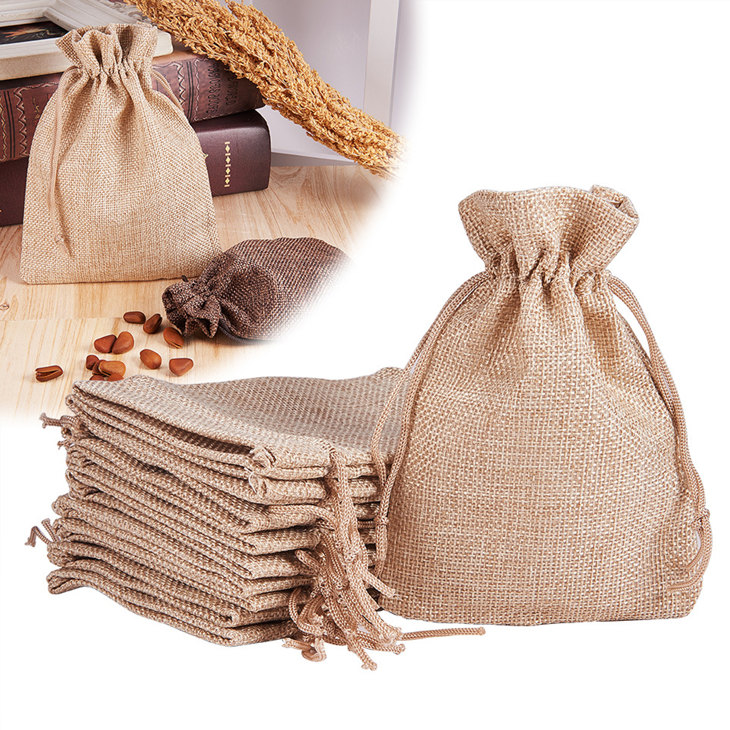 Behogar 20PCS 13.5x9.5cm Linen Cadby Gift Jewelry Drawstring Bags Pouches for We