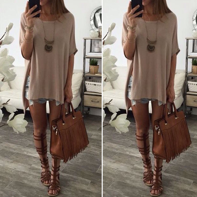 Women Summer Casual Solid Color Round Neck Short Sleeve T Shirt Tops