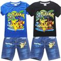 New Pokemon Go Pikachu Boys Clothing Set Summer Cotton Clothing Sets For Boys  Shirt + Jeans 2 Pieces Suit Children Clothing