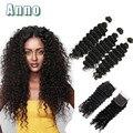2016 Бросился Горячая Продажа Чистый Цвет Бразильский Девственные Волосы Бразильский Глубокая Волна С Закрытием 7а С 3 Пучков С