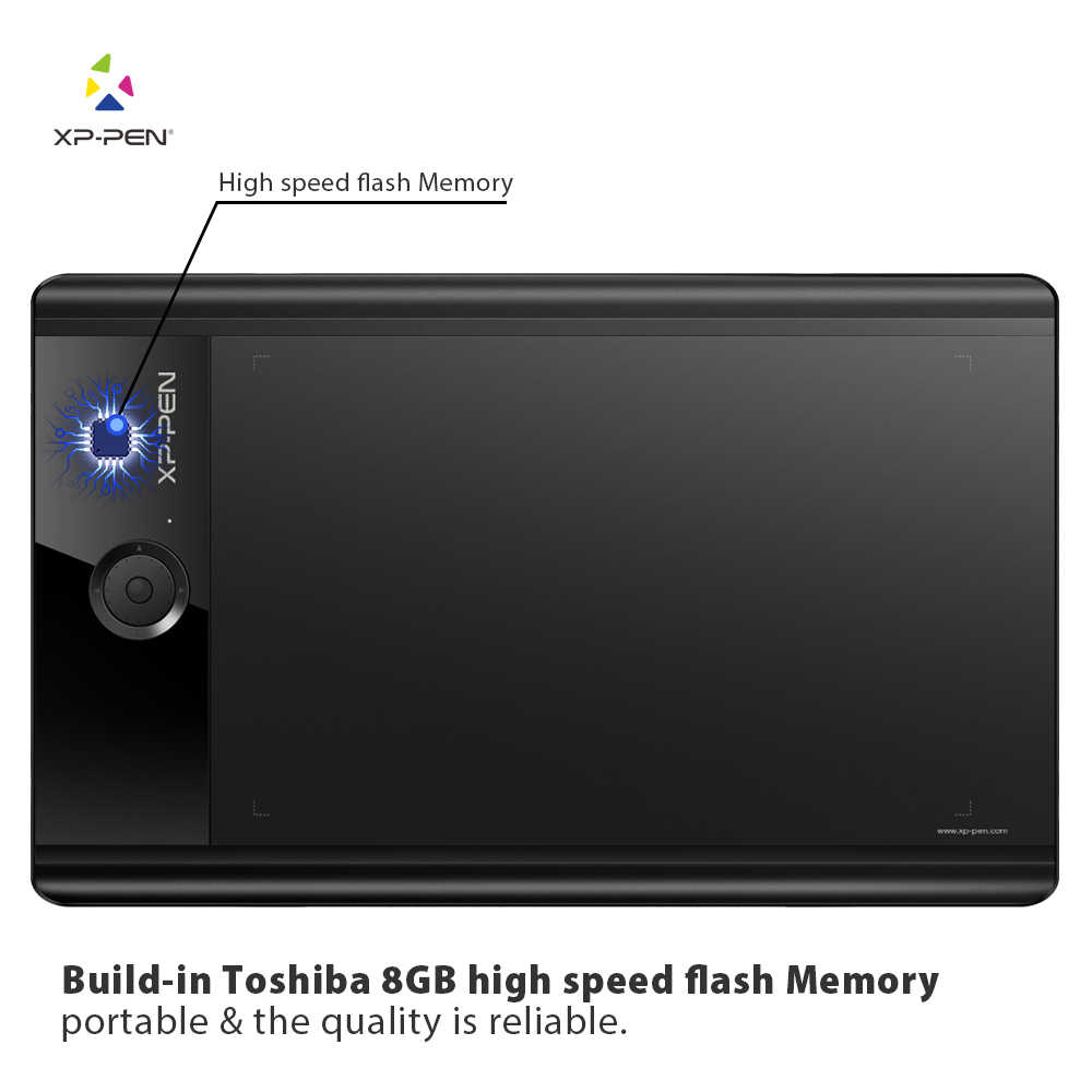 "XP-Pen Star04 Stylus pasivo 9x6 ""tableta gráfica/tableta de dibujo con 8 teclas exprés y memoria Flash integrada de 8 GB"