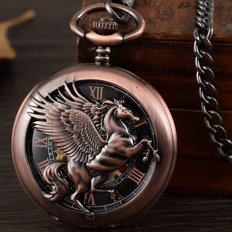 Hollow Flying Horse Engraved Mechanical Pocket Watch Hand Wind Retro Skeleton Steampunk Fob Watch Chain Necklace Pendant