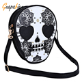 Guapabien Black Zipper Head Mini Dual Purposes Shoulder Messenger Bag Women Street Style Skull Floral Heart Cat Crossbody Bag