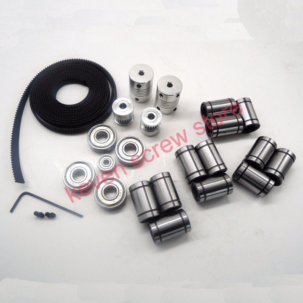 22pcs/lot movement kit for 3d printer reprap prusa i3 include GT2 belt pulley,LM8UU,608zz,624zz and coupler hictop 5 meters gt2 timing belt for reprap 3d printer prusa i3