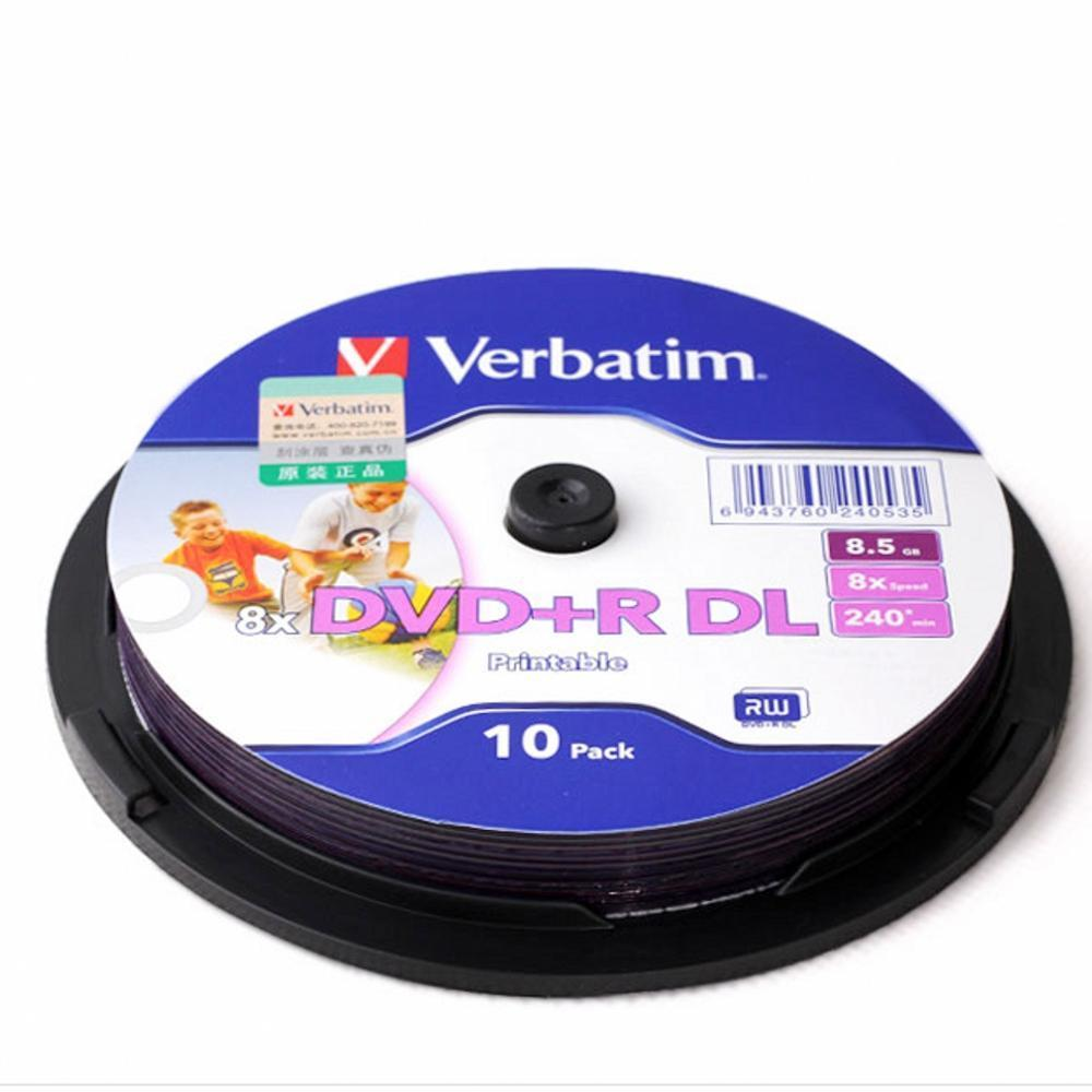10 Pieces For Verbatim blank printable DVD+R DL 8X Dual Layer 10 Discs DVD +R dl 8.5GB with original cake box