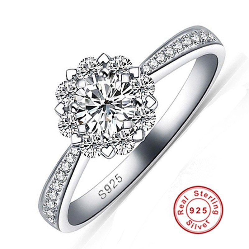 Promotion Fine jewelry Real 925 Silver Wedding Rings for Women Fashion Flower 5A Zircon cz Engagement Ring New Jewelry Wholesale