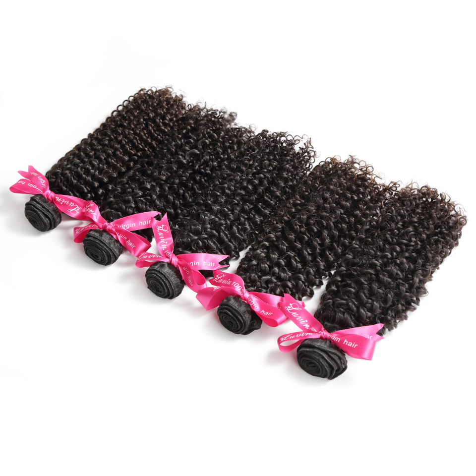 Luvin Brazilian Kinky Curly Virgin Hair 100% Human Hair Weave Bundles Natural Color Hair Weaving Free Shipping