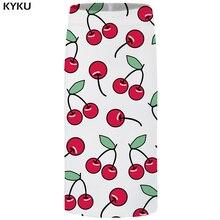 KYKU Brand Cherry Skirts Women Fruit Sexy Leaf Plus Size White Pencil Floral Party Ladies Womens Anime Knee Length New